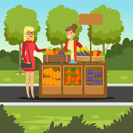 Cheerful farmer woman selling vegetables on her stall, local farmers market with a customer, agriculture and farming vector Illustration