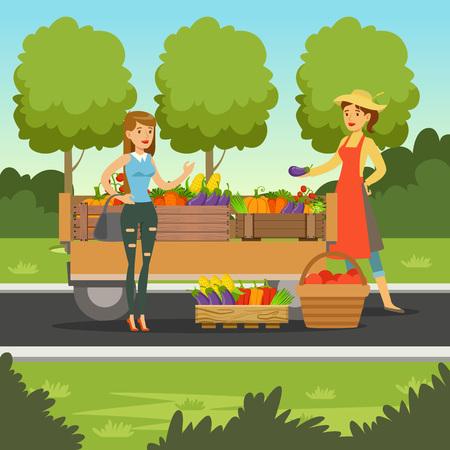 나무 바구니, 고객, 농업 및 농업, 지역 농민 시장에서 신선한 야채를 파는 농부 여자 벡터 일러스트