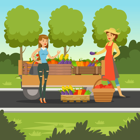 Farmer woman selling fresh vegetables from wooden cart, local farmers market with a customer, agriculture and farming, vector Illustration Çizim