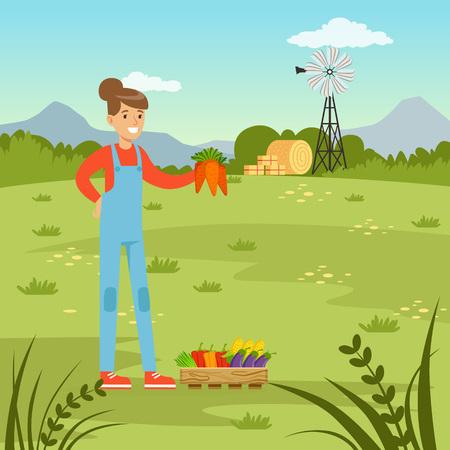 Farmer woman harvesting fresh vegetables, agriculture and farming, rural landscape vector Illustration