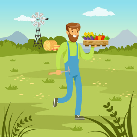 Farmer man carrying a basket full of fresh vegetables, agriculture and farming, rural landscape vector Illustration