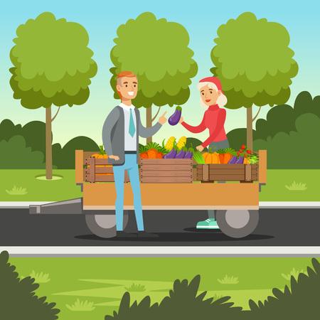 Landwirtfrau, die Gemüse vom hölzernen Warenkorb, vom lokalen Landwirtmarkt mit einem Kunden, von der Landwirtschaft und von der Landwirtschaft, Vektor Illustration verkauft Standard-Bild - 89221437