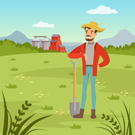 Farmer man standing with shovel, agriculture and farming, rural landscape, vector Illustration Ilustração
