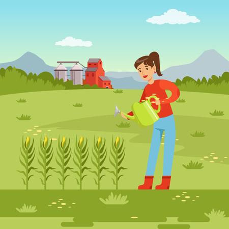 Femme agriculteur, arrosage des plantes de maïs avec arrosoir, l'agriculture et l'agriculture, vecteur de paysage rural Illustration Banque d'images - 89222804