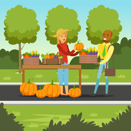 Farmer woman selling vegetables on her stall, local farmers market with a customer, agriculture and farming vector Illustration