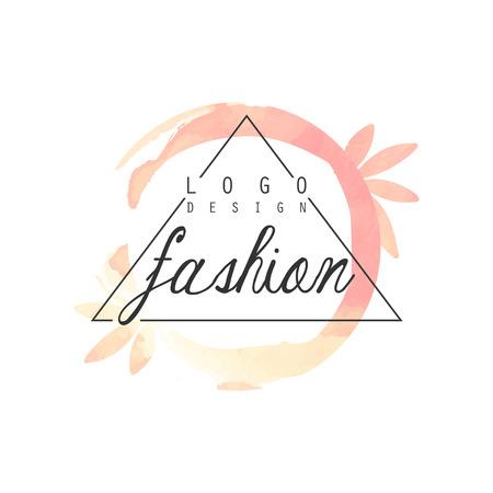 Fashion icon design, badge for clothes boutique, beauty salon or cosmetician watercolor vector Illustration Ilustração