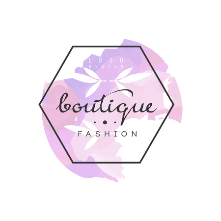 Boutique fashion logo, badge for clothes shop, beauty salon or cosmetician watercolor vector Illustration