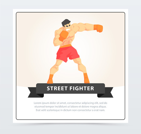 Muscular man boxing with gloves, street fighter banner cartoon vector element for website or mobile app Illustration