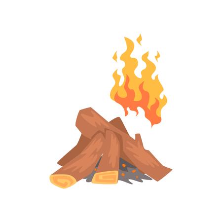 たき火、キャンプファイヤー燃える漫画ベクトル図をログに記録します。  イラスト・ベクター素材