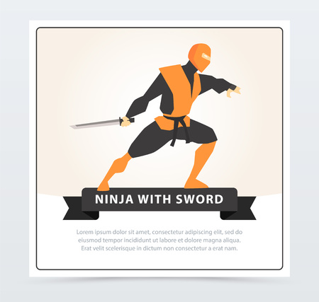 Ninja with sword, Japanese martial arts fighter banner cartoon vector element for website or mobile app