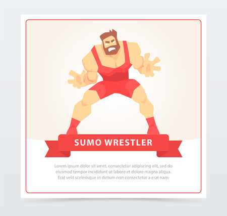 Sumo wrestler banner, cartoon vector element for website or mobile app Ilustracja