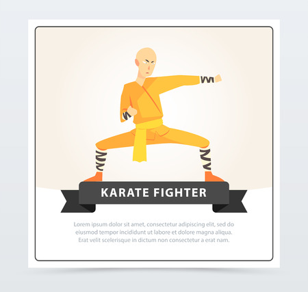 Man in orange kimono training, karate fighter banner cartoon vector element for website or mobile app Illustration