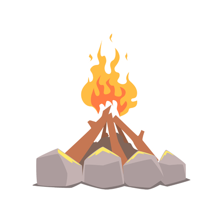Bonfire, camping fire surrounded by stones cartoon vector Illustration