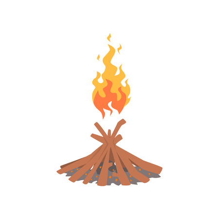 Burning bonfire with wood cartoon vector Illustration Ilustração