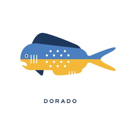 황새, 바다 물고기 기하학적 평면 스타일 디자인 벡터 일러스트 레이션