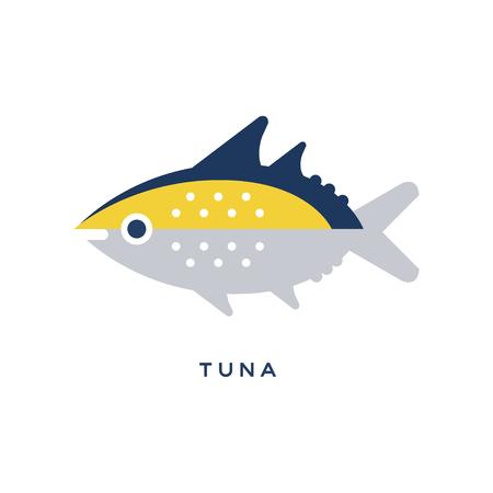 참치, 바다 물고기 기하학적 평면 스타일 디자인 벡터 일러스트 레이션 스톡 콘텐츠 - 89288480