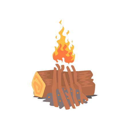 Bonfire, campfire logs burning cartoon vector Illustration