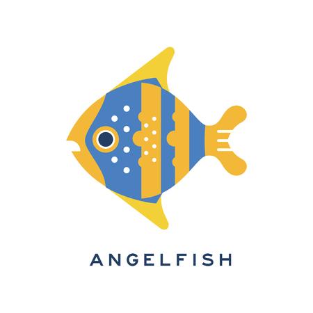 엔젤 피시, 바다 물고기 기하학적 평면 스타일 디자인 벡터 일러스트 레이션 일러스트