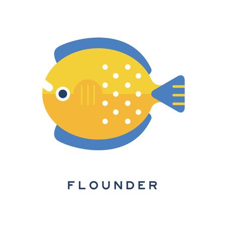 넙치, 바다 물고기 기하학적 평면 스타일 디자인 벡터 일러스트 레이션