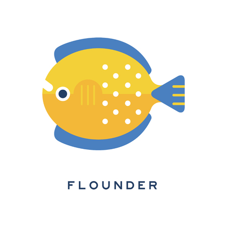 Flounder, sea fish geometric flat style design vector Illustration
