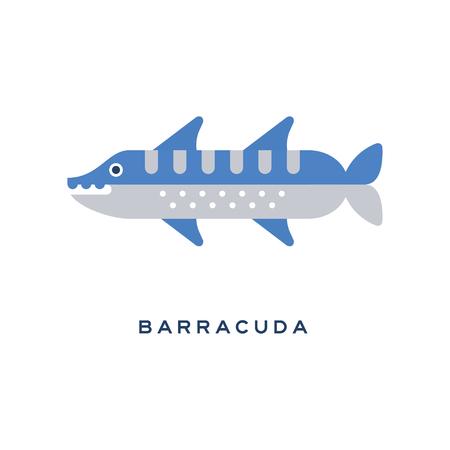 바라쿠다, 바다 육식 물고기 기하학적 평면 스타일의 디자인 벡터 일러스트 레이션