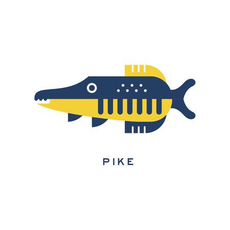 파이크, 민물 고기 기하학적 평면 스타일 디자인 벡터 일러스트 레이션