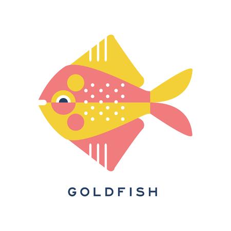 Goldfish, sea fish geometric flat style design vector Illustration