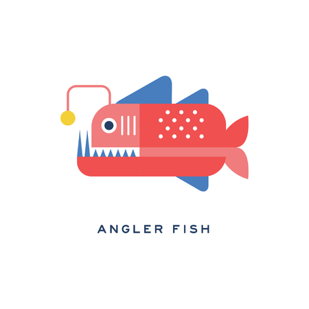 釣り魚、海の肉食魚ジオメトリックフラットスタイルデザインベクトルイラスト