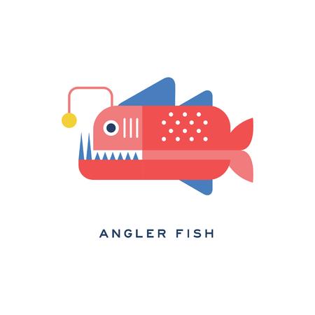 낚시꾼 물고기, 바다 육식 물고기 기하학적 평면 스타일 디자인 벡터 일러스트 레이션