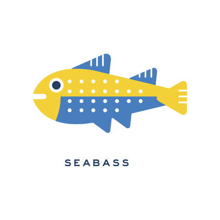 Seabass, sea fish geometric flat style design vector Illustration