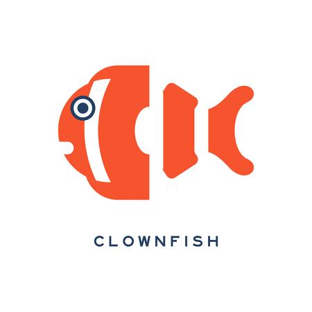 Clownfish, sea fish geometric flat style design vector Illustration