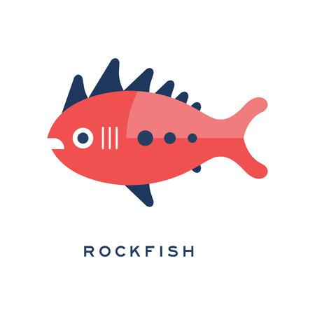 Rockfish, sea fish geometric flat style design vector Illustration