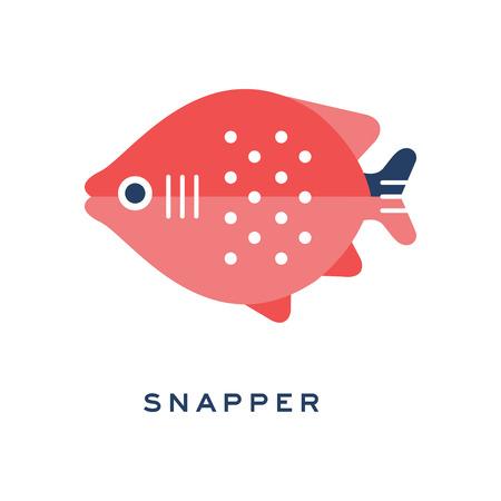 Snapper, freshwater fish geometric flat style design vector Illustration