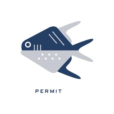 Permit, sea fish geometric flat style design vector Illustration