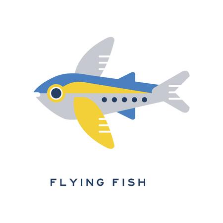 Flying fish, sea fish geometric flat style design vector Illustration