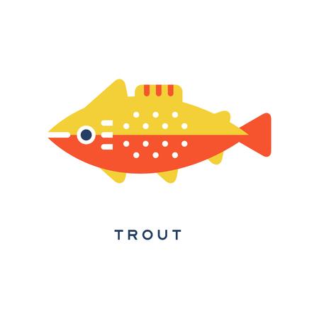 Trout, freshwater fish geometric flat style design vector Illustration