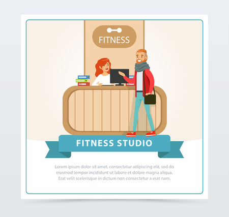 Reception desk in a fitness club, female receptionist and client, fitness studio banner flat vector element for website or mobile app
