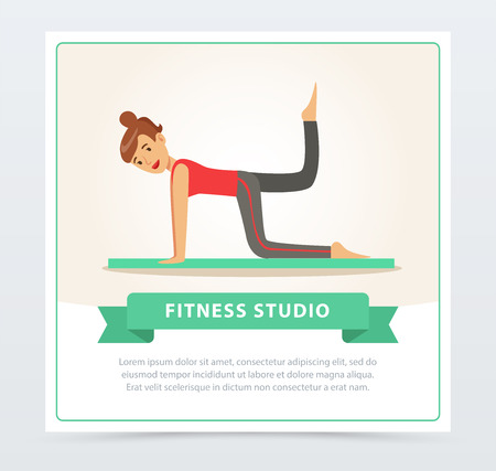 Young woman doing fitness exercises on a mat, fitness studio banner flat vector element for website or mobile app