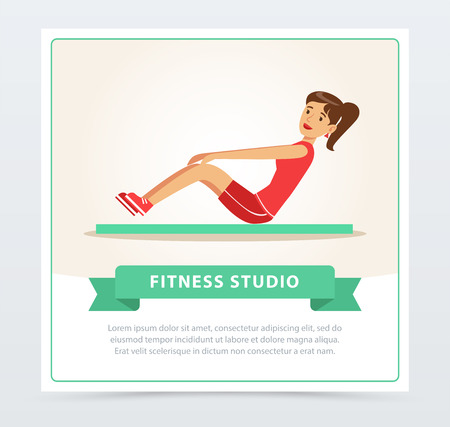 Young woman working out on exercise mat, fitness studio banner flat vector element for website or mobile app Ilustrace