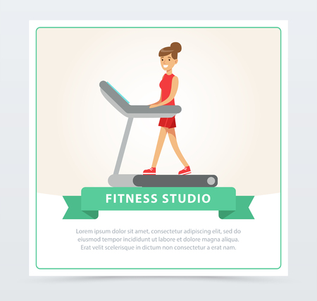 Young woman walking on thread mill, fitness studio banner flat vector element for website or mobile app