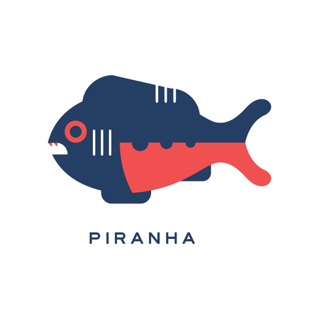 피라니아, 바다 육식 물고기 기하학적 평면 스타일 디자인 벡터 일러스트 레이션 일러스트