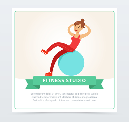 Young woman exercising on a fitball, fitness studio banner flat vector element for website or mobile app Ilustrace