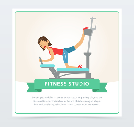 Young woman exercising on trainer gym machine, fitness studio banner flat vector element for website or mobile app