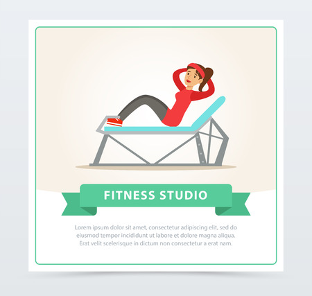 Young woman doing press exercise on a bench, fitness studio banner flat vector element for website or mobile Illustration
