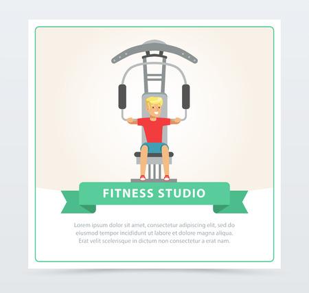 Jonge man flexing spieren op trainer gym machine, fitness studio banner platte vectorelement voor website of mobiele app Stock Illustratie