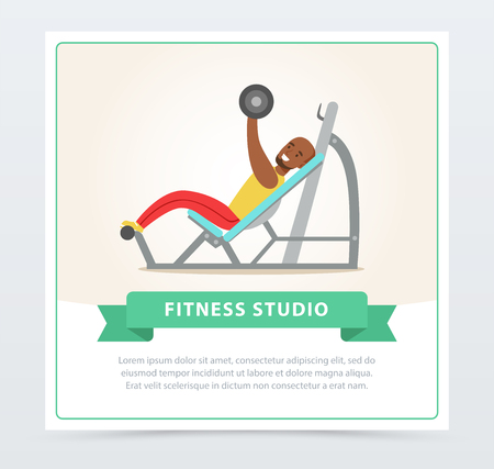 Young black man exercising chest with barbell on bench press, fitness studio banner flat vector element for website or mobile app