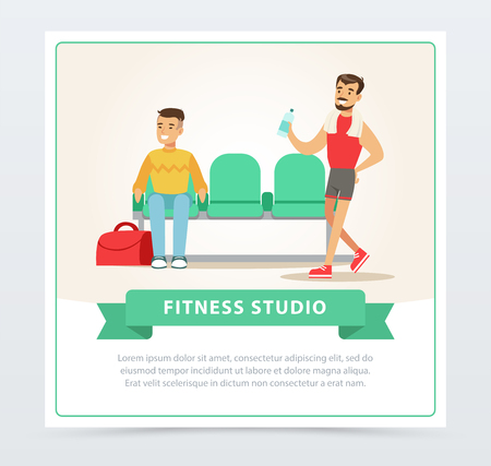 Young men going to training, gym interior, fitness studio banner flat vector element for website or mobile app