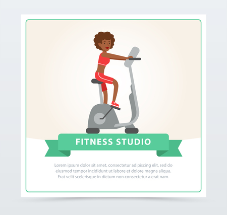 Young woman working out on exercise bike, fitness studio banner flat vector element for website or mobile app