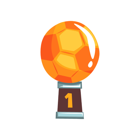 Bright winner award for best football player. Golden champion soccer ball on brown base. Sports game trophy. First place. Number one. Vector illustration in flat style isolated on white background.