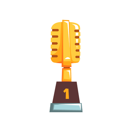 Illustration of golden trophy with retro microphone. First place. Award for outstanding achievements in music industry. Grand prize for winner of vocal competition. Cartoon vector in flat design.